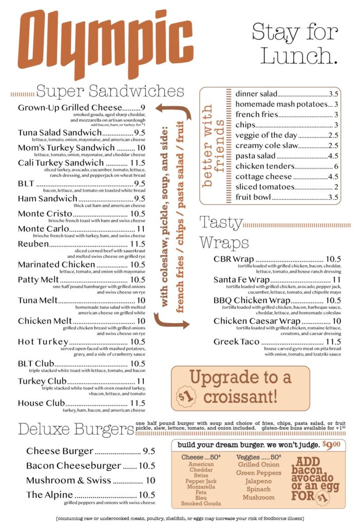lunch menu front
